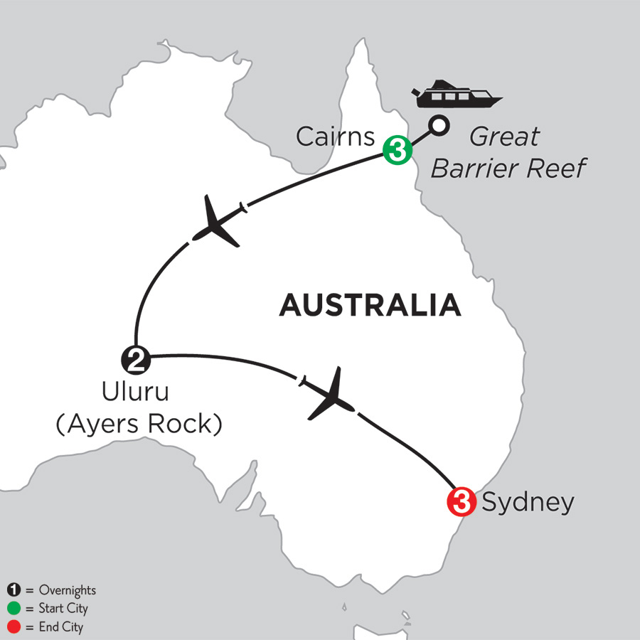Itinerary map of Journey Down Under 2019 from Cairns to Sydney