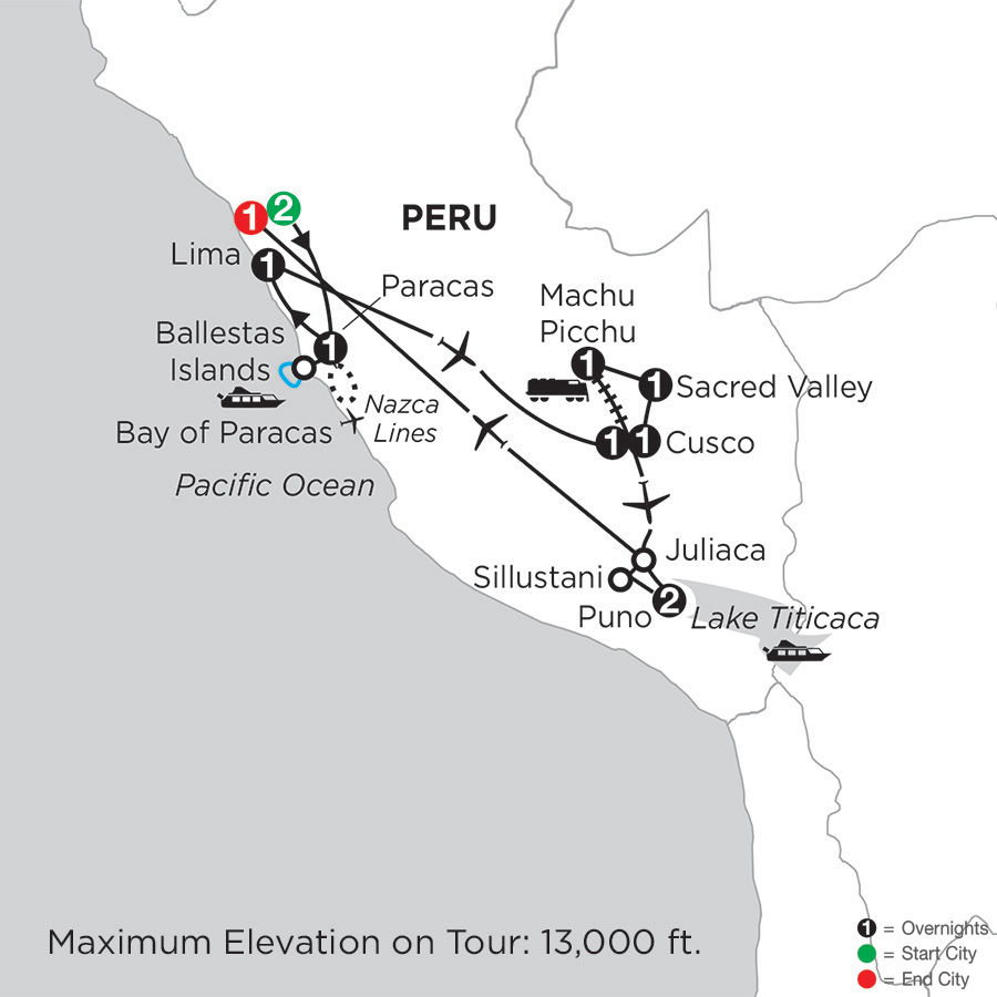 Itinerary map of Journey through the Andes 2019 from Lima to Lima