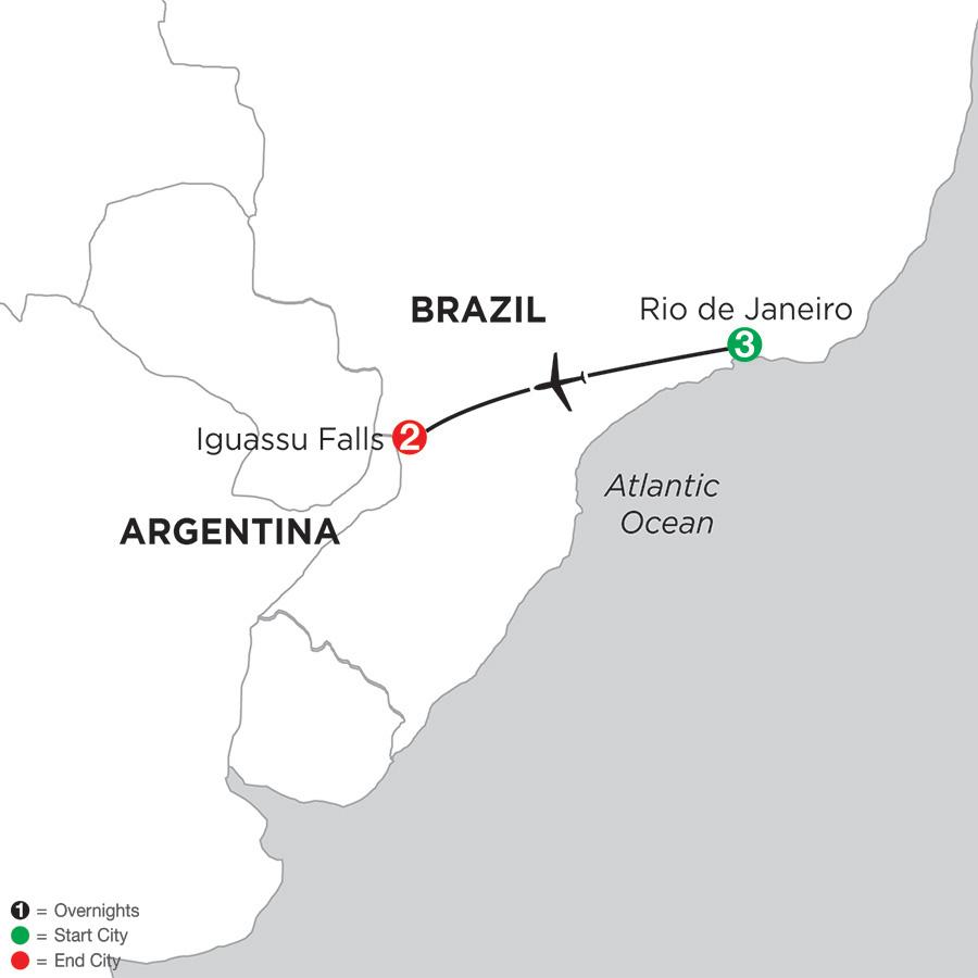 Itinerary map of Brazil Highlights 2019 from Rio de Janeiro to Iguassu Falls