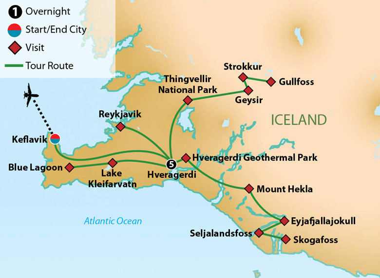 Map for Iceland Land of Fire and Ice