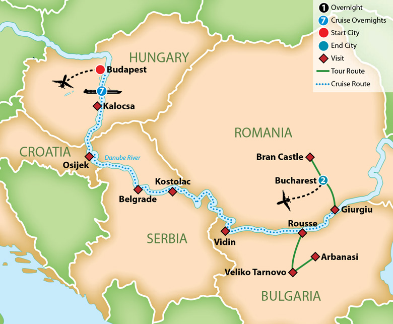 Itinerary map of Gems of Eastern Europe River Cruise