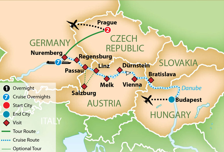 Map for The Legendary Blue Danube River Cruise 2019