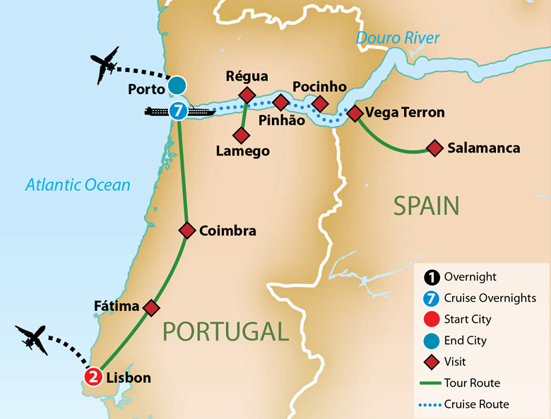 Itinerary map of Portugal and the Douro River Cruise 2019