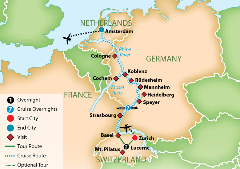 Map for Romantic Rhine and Mosel River Cruise 2019