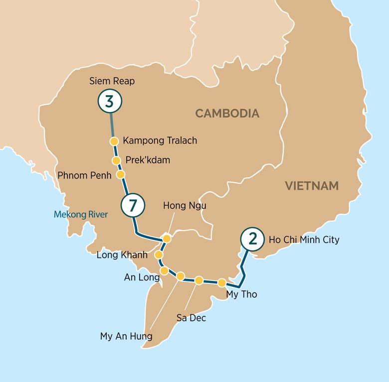 Itinerary map of MajesticMekong RiverCruise