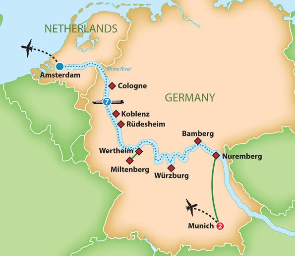 Map for Romantic Rhine River Cruise during Oktoberfest