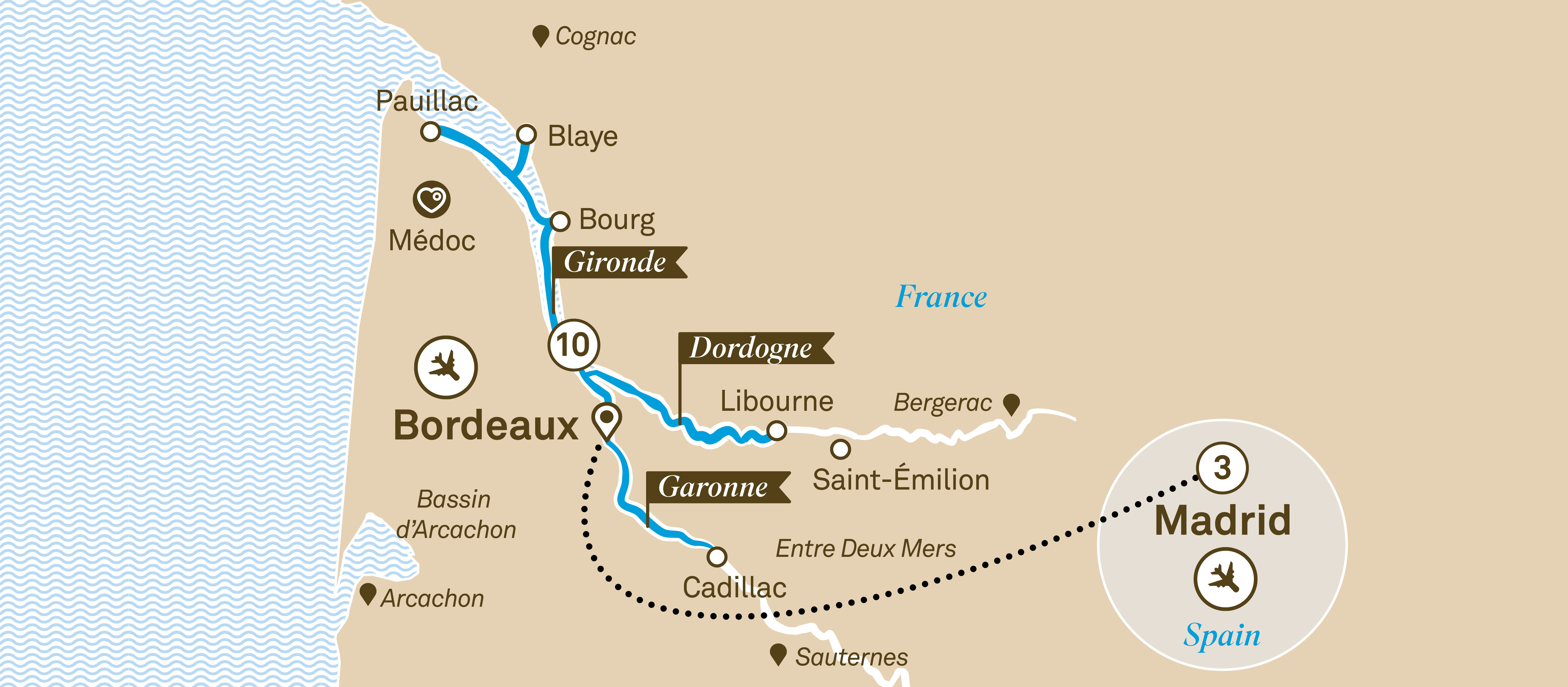 Itinerary map of Beautiful Bordeaux with Madrid