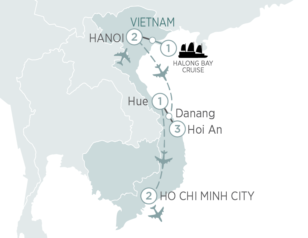 Itinerary map of Best of Vietnam