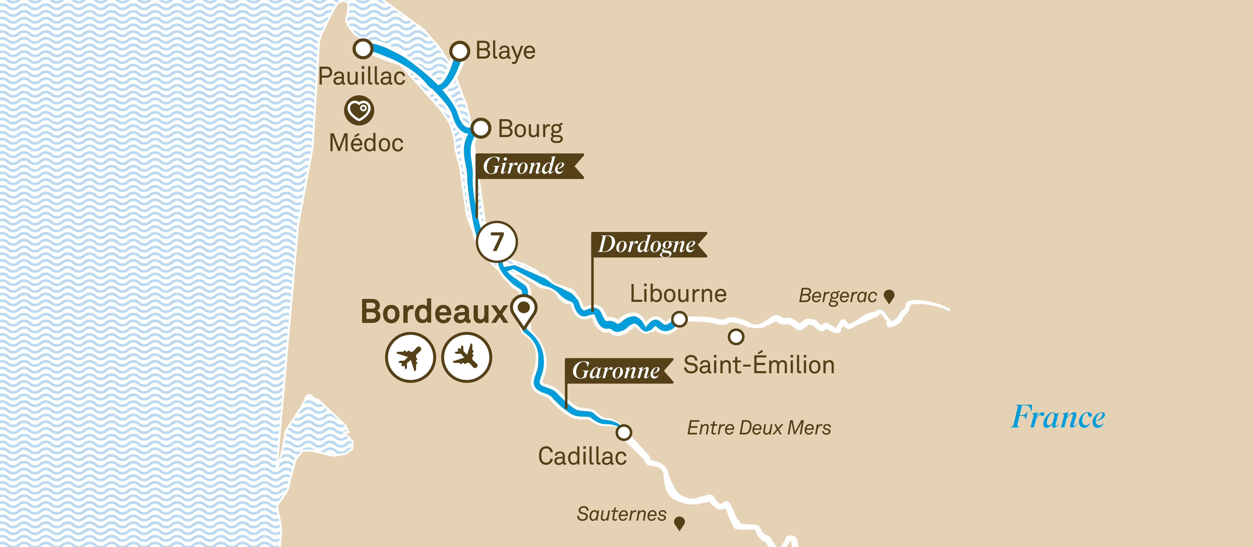 Itinerary map of Bordeaux Affair