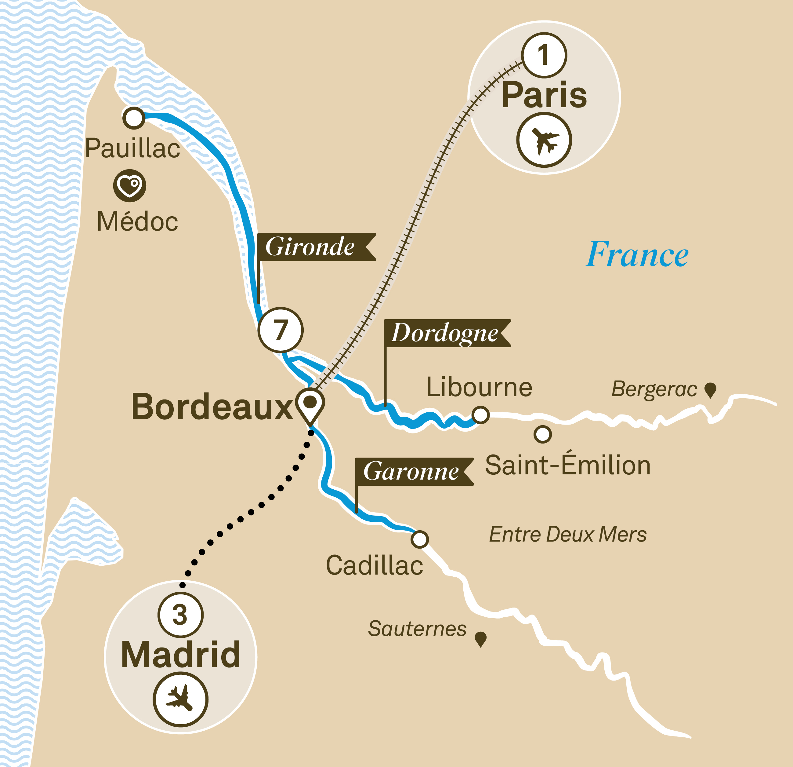 Itinerary map of Bordeaux Sojourn
