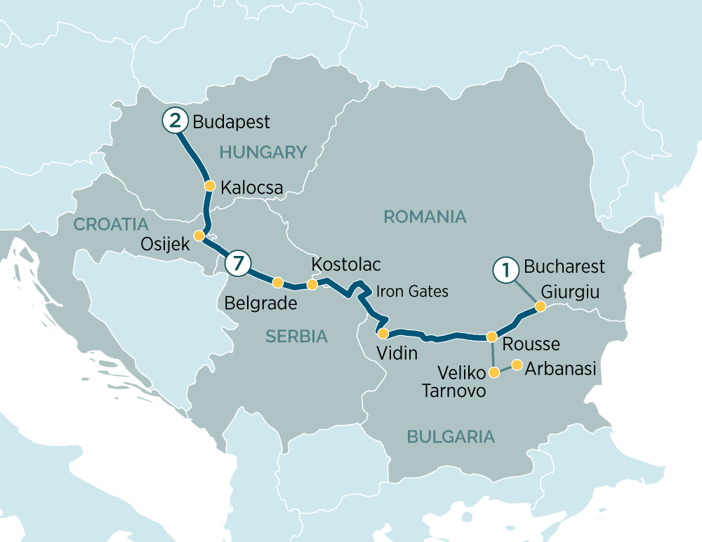 Itinerary map of Budapest & Enchantment of Eastern Europe