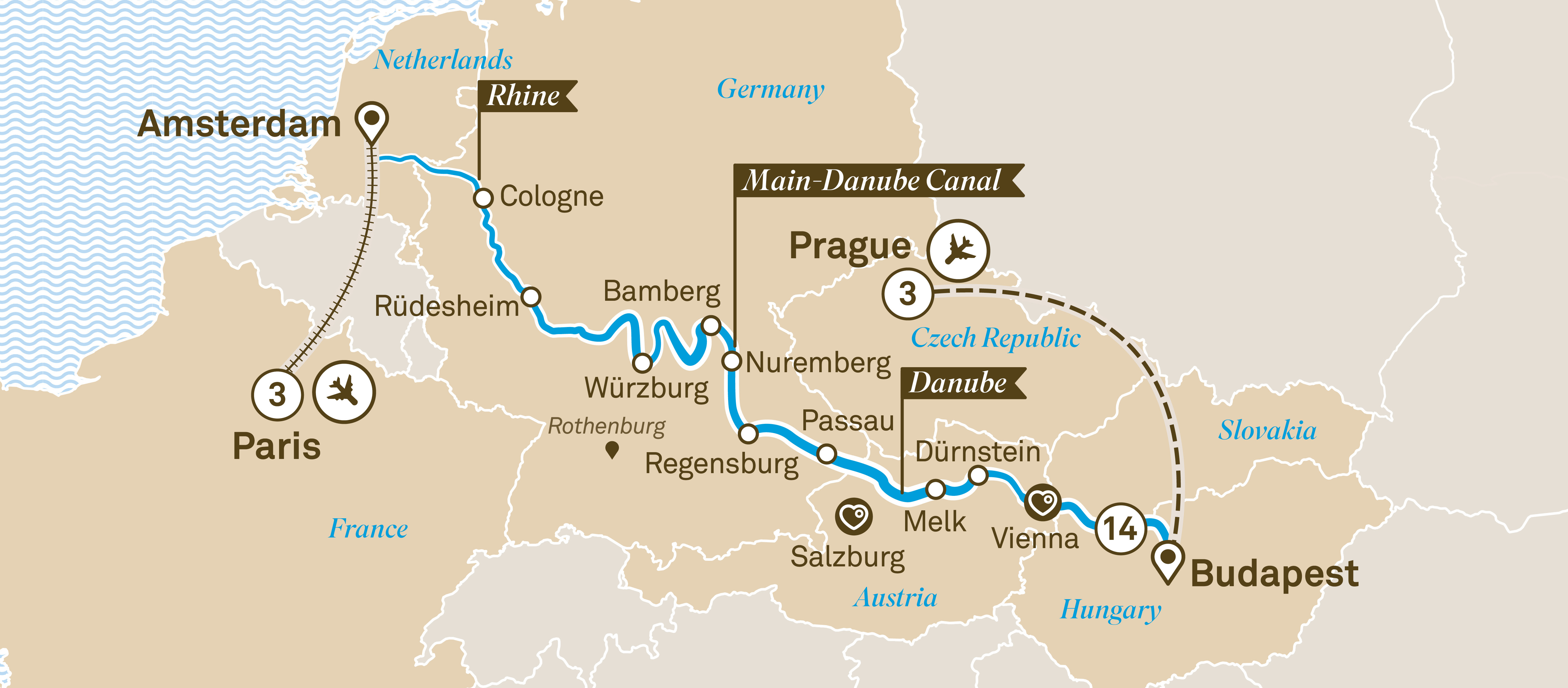 Itinerary map of Christmas Markets with Prague & Paris