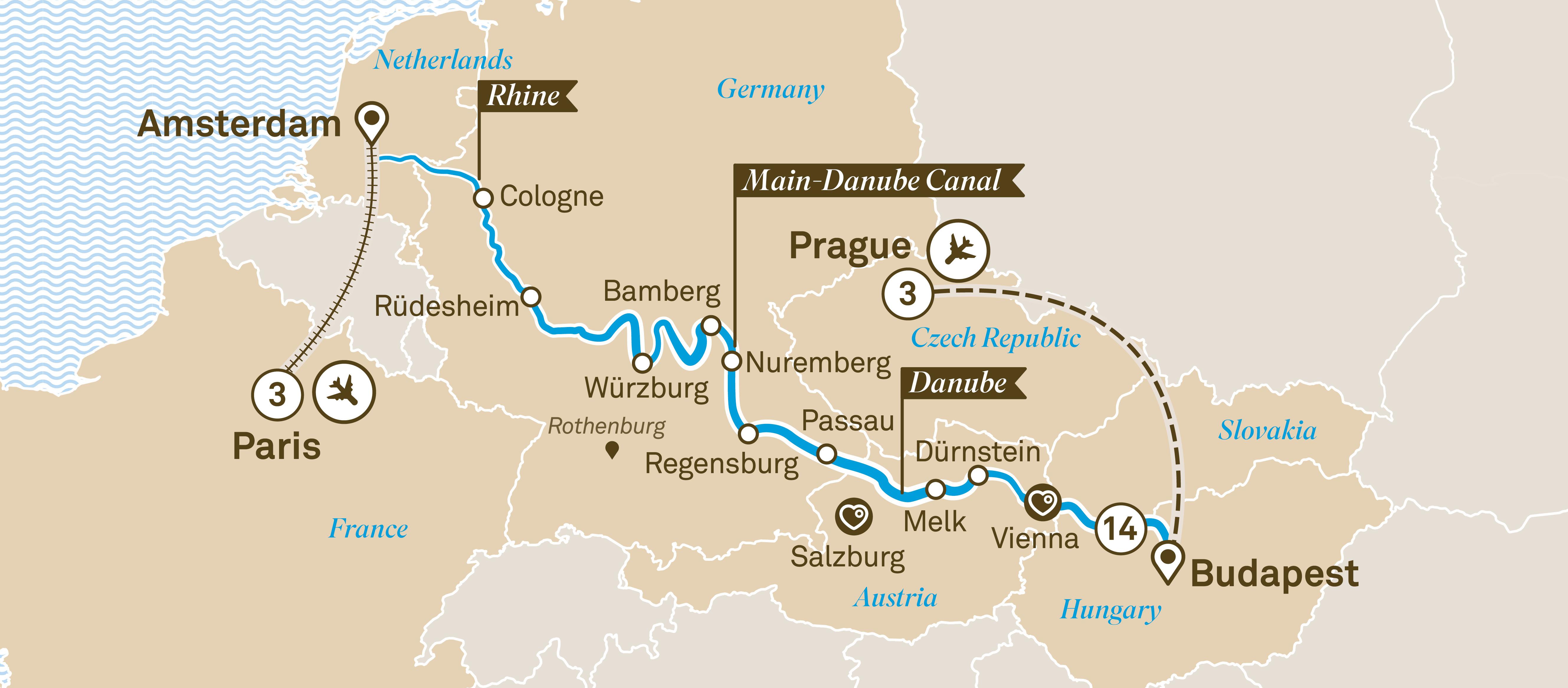 Map for Christmas Markets with Prague & Paris