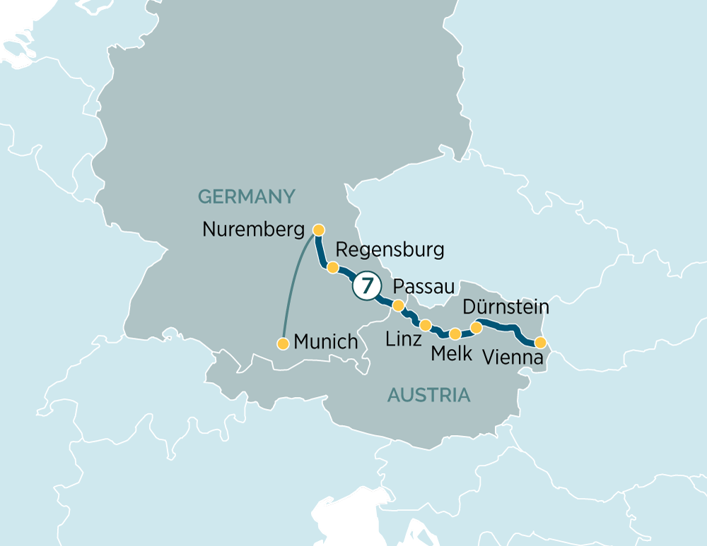 Itinerary map of Classic Danube