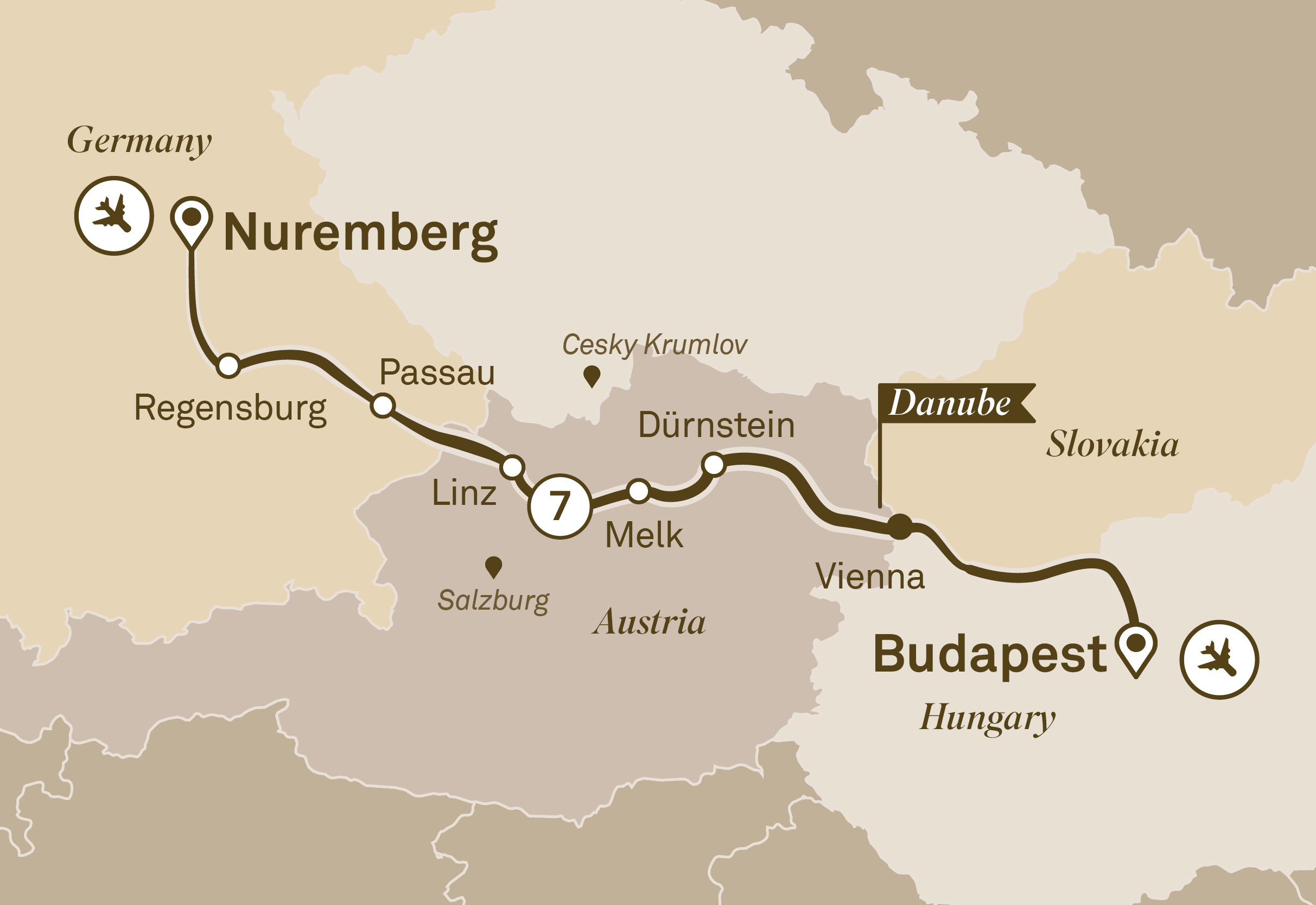 Itinerary map of Danube Christmas Markets