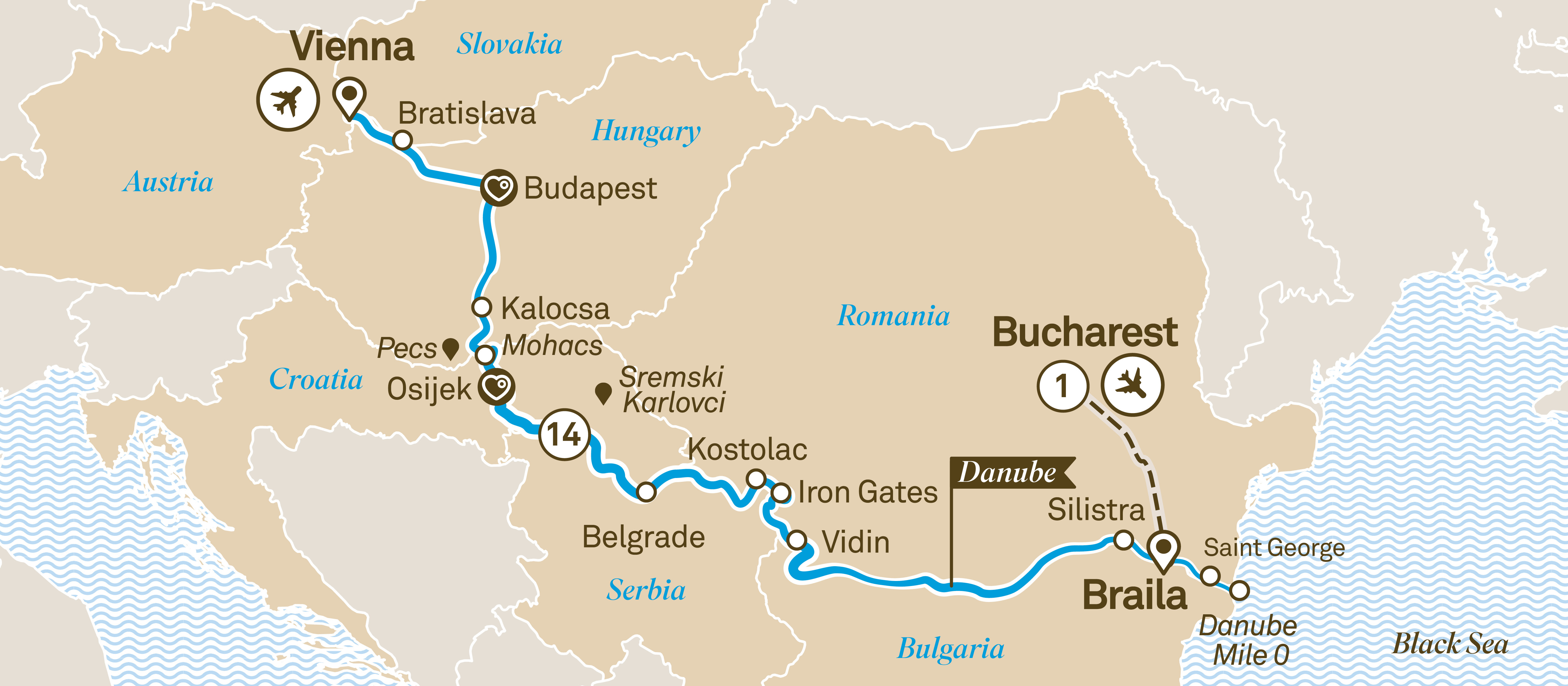 Itinerary map of Danube Delta Discovery
