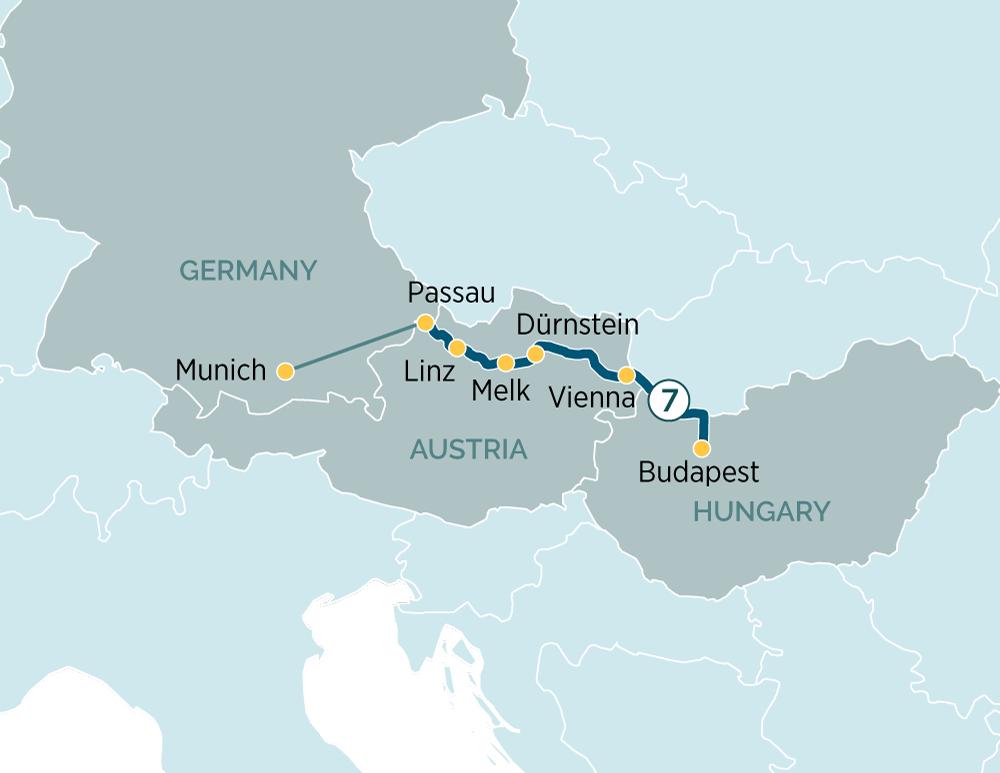 Itinerary map of Danube Explorer