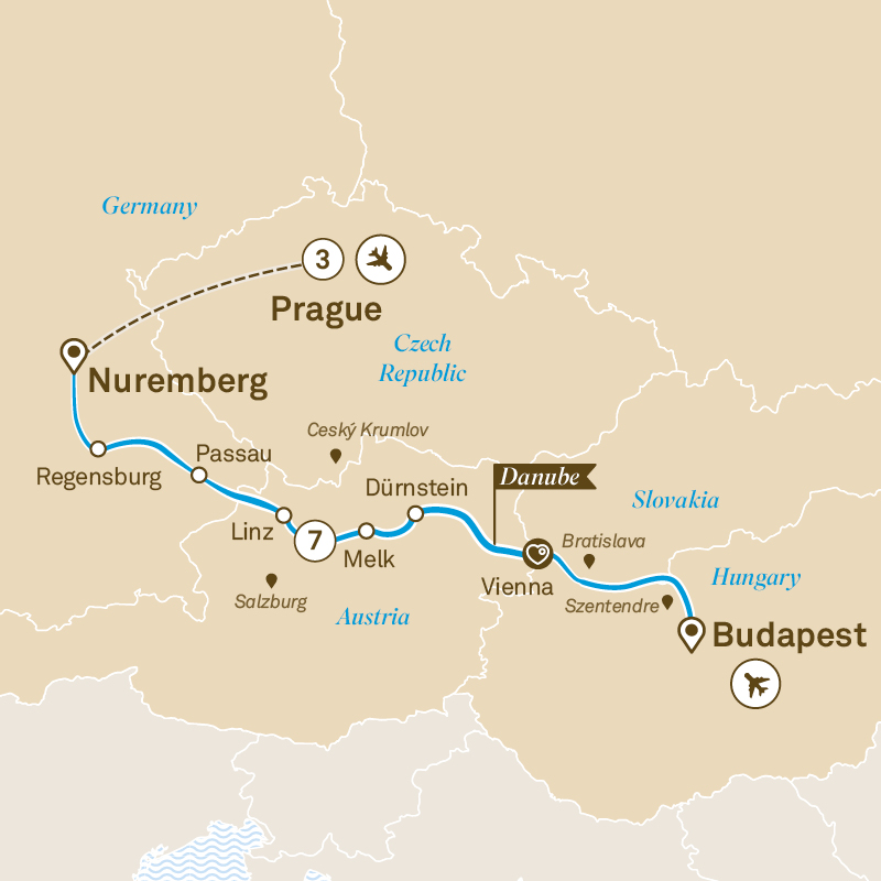 Itinerary map of Gems of the Danube with Prague
