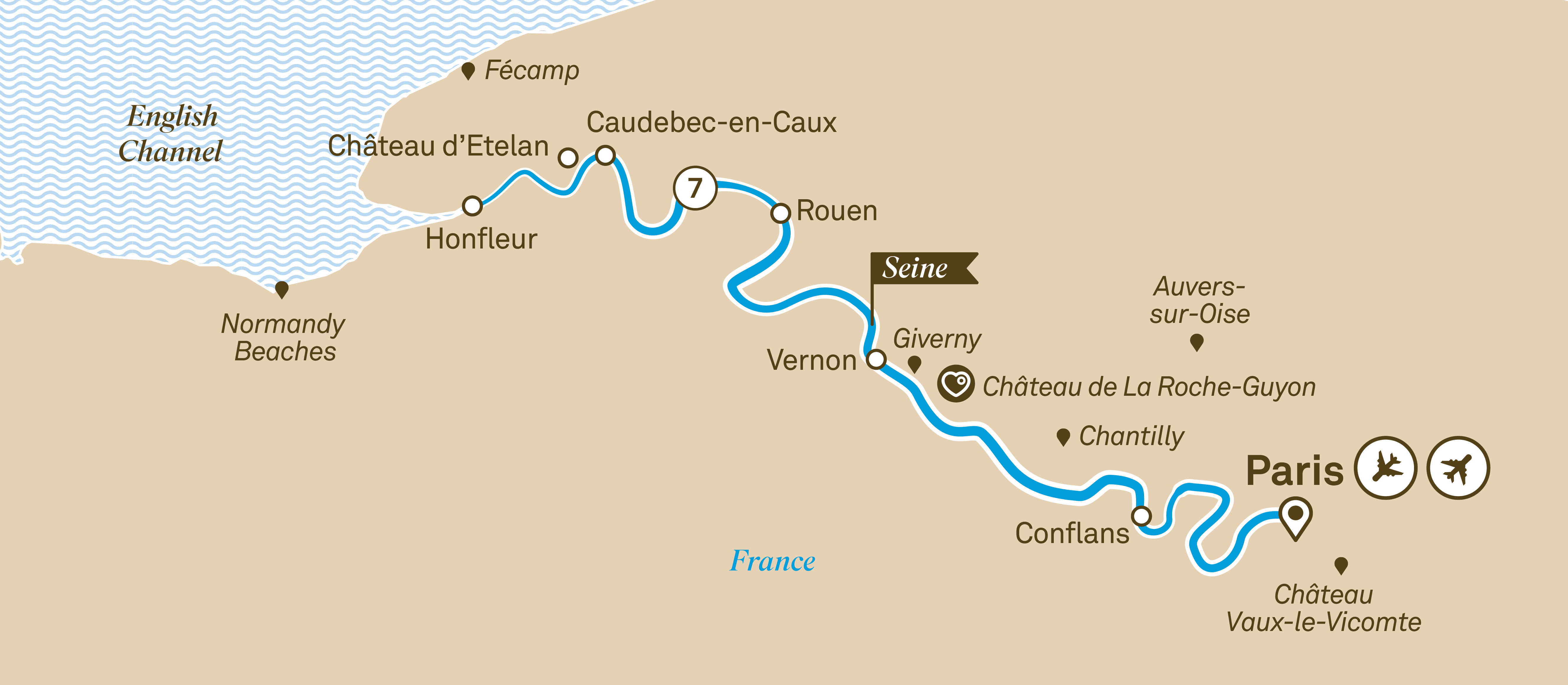Itinerary map of Highlights of Normandy & the Seine