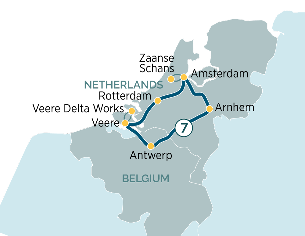 Itinerary map of Highlights of the Netherlands & the Beauty of Belgium