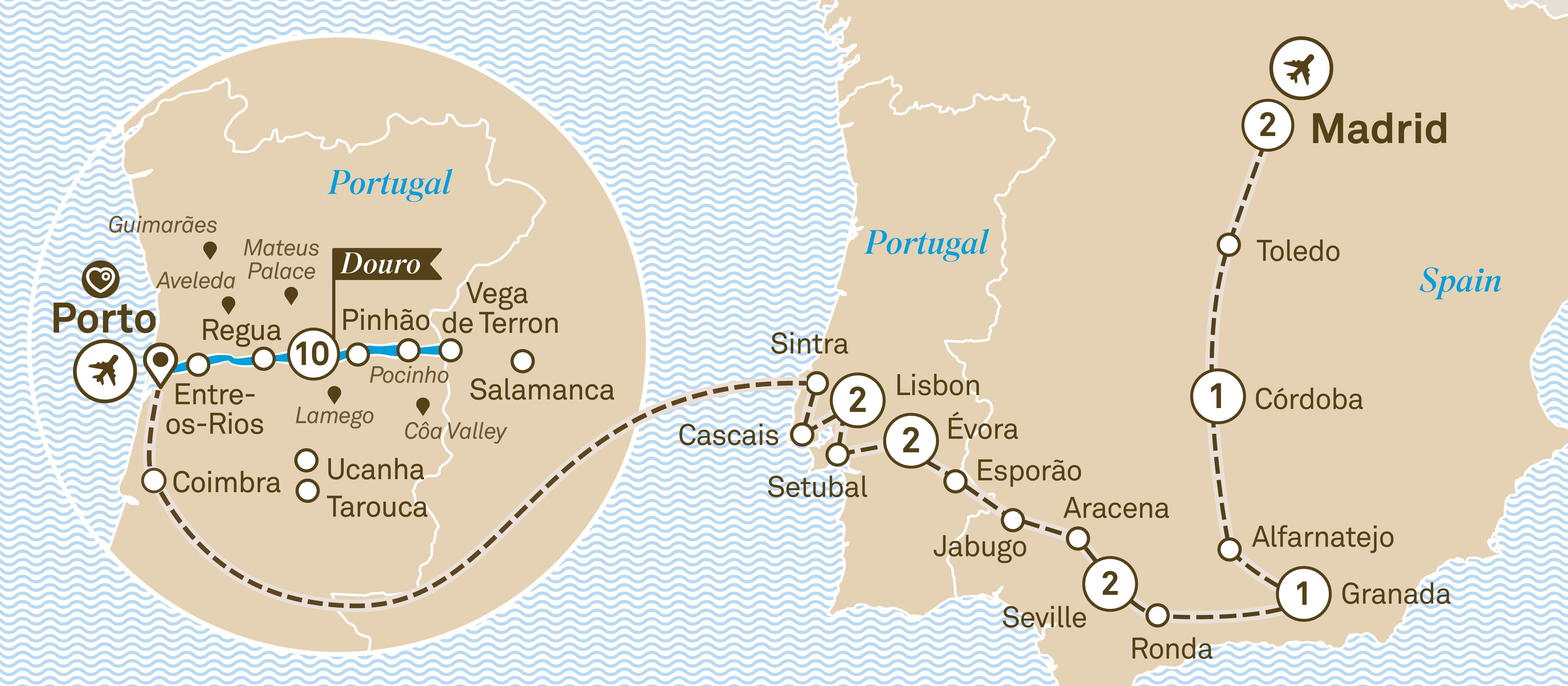 Itinerary map of Iberian Grandeur
