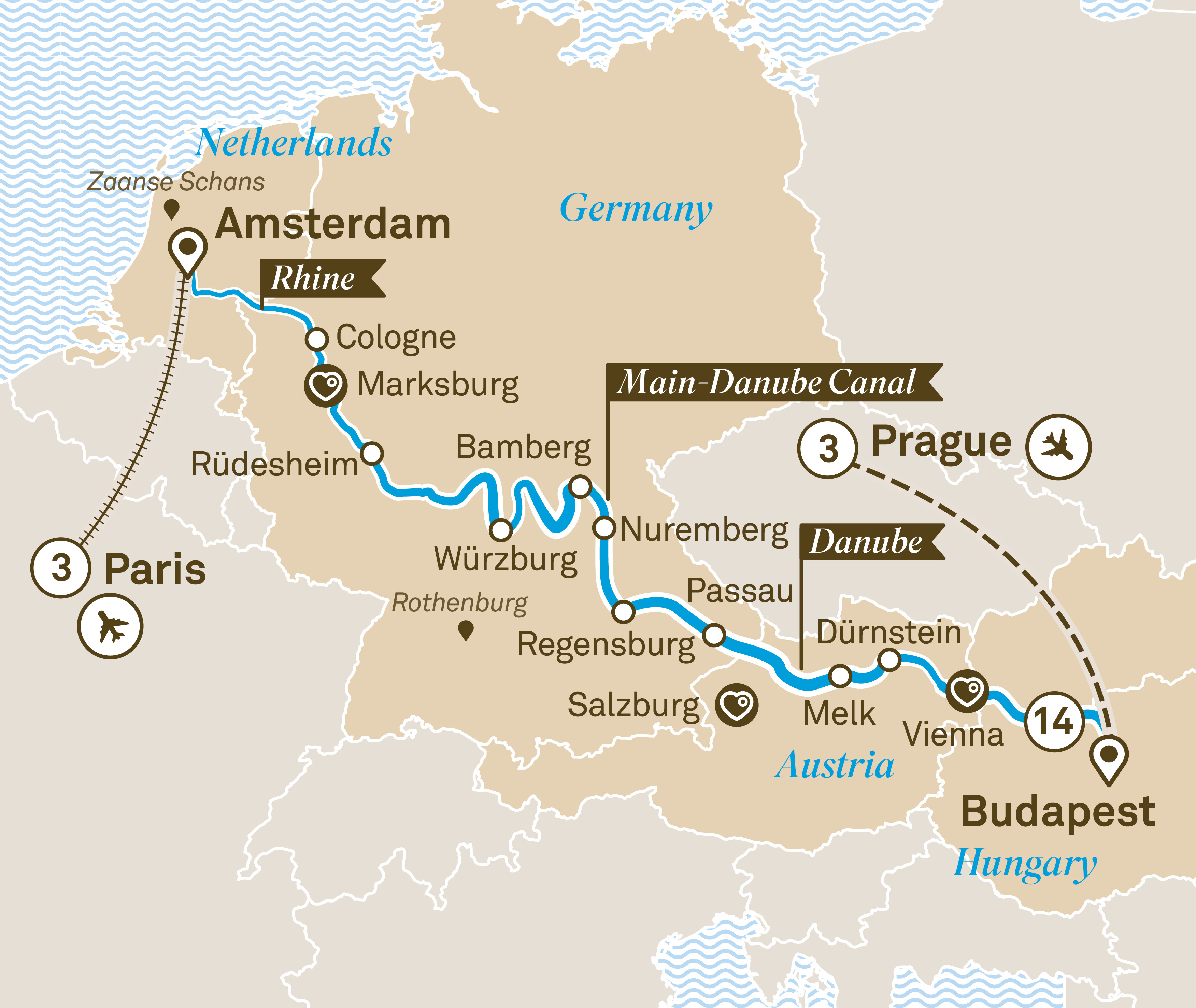 Itinerary map of Jewels of Europe with Paris & Prague