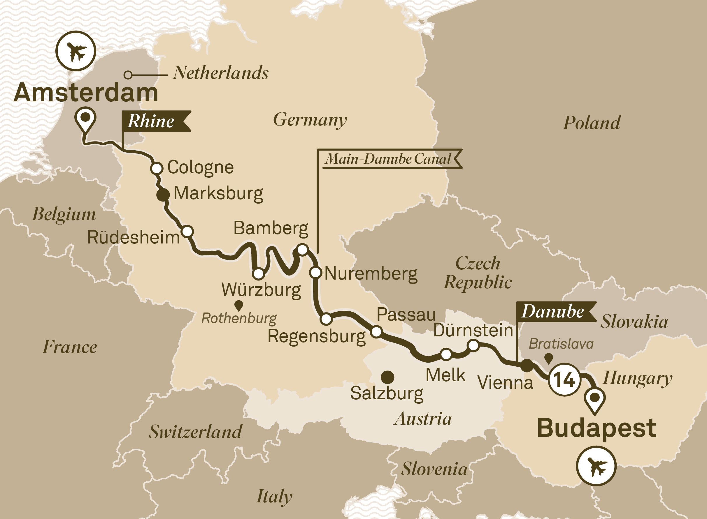 Itinerary map of Jewels of Europe