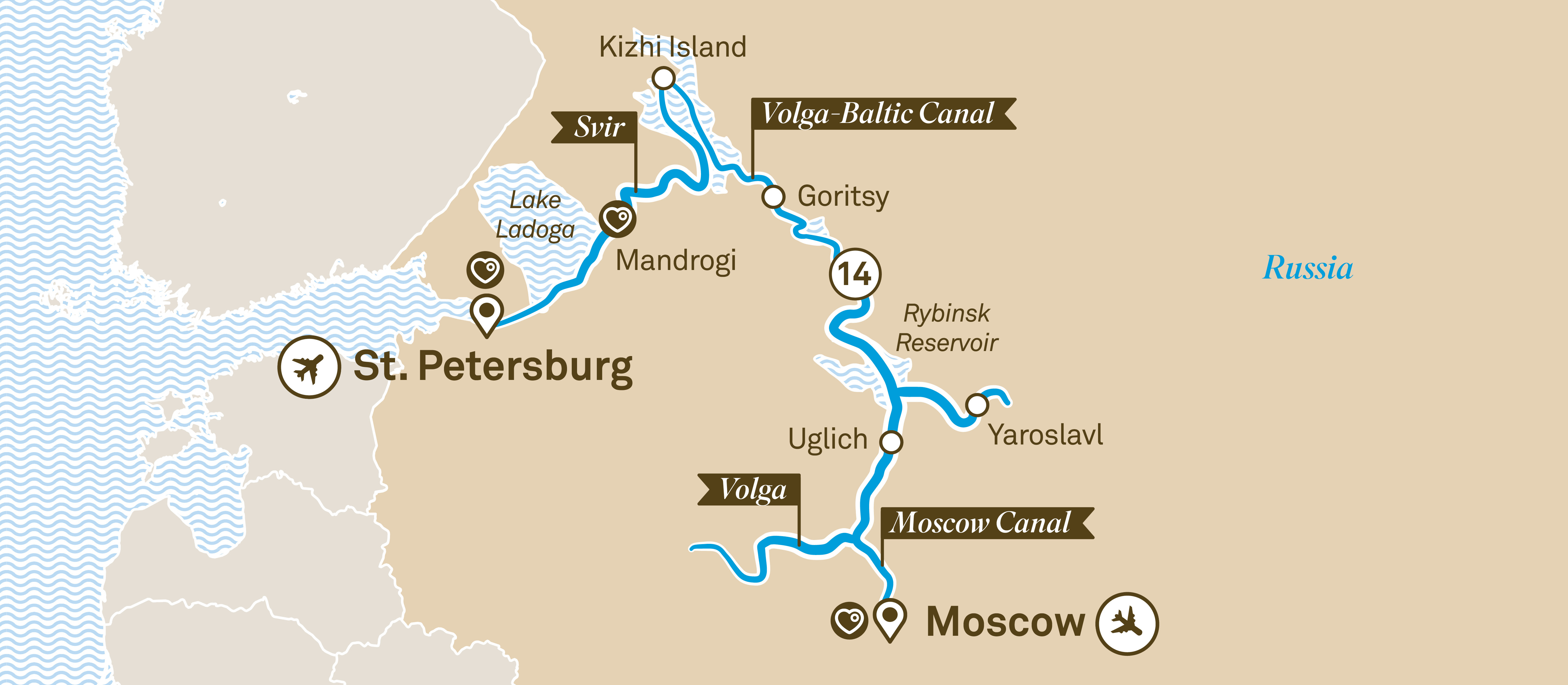 Itinerary map of Jewels of Russia