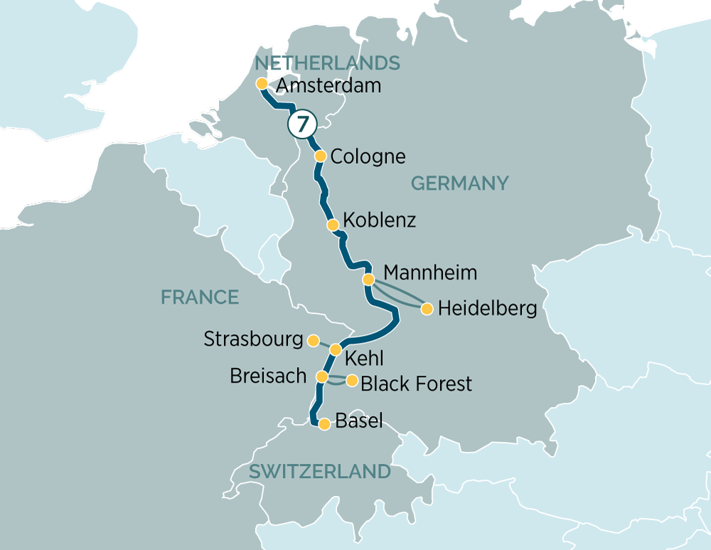 Itinerary map of Jewels of the Rhine