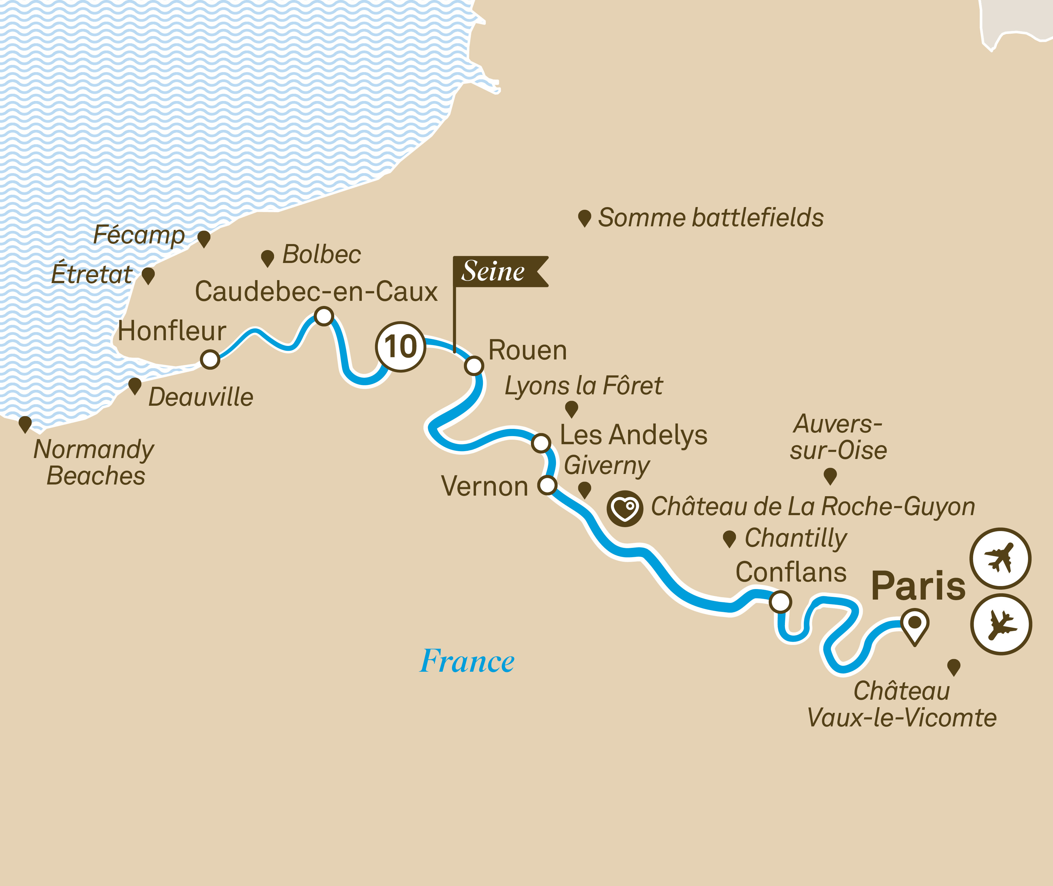 Itinerary map of Normandy & Gems of the Seine