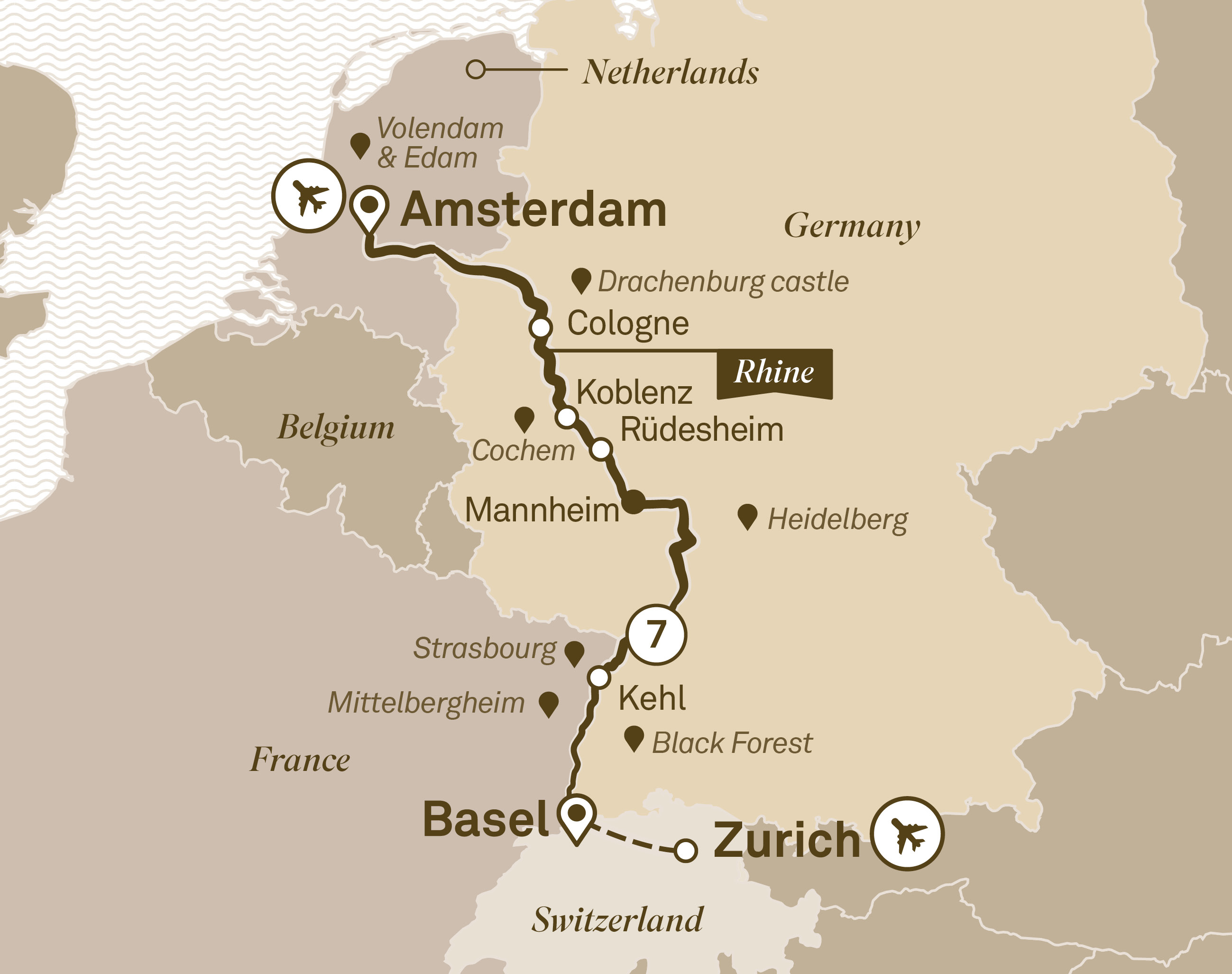 Itinerary map of Rhine Christmas Markets
