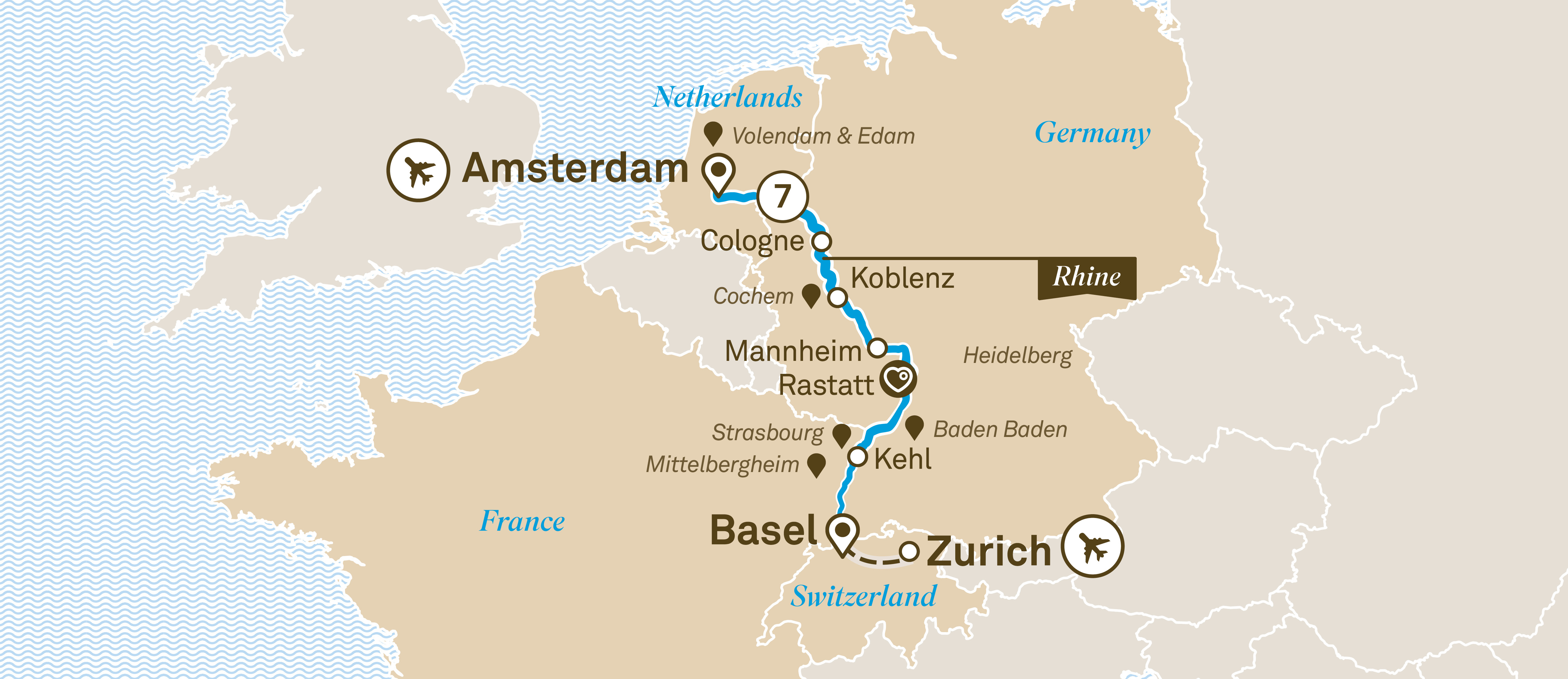 Itinerary map of Rhine Highlights
