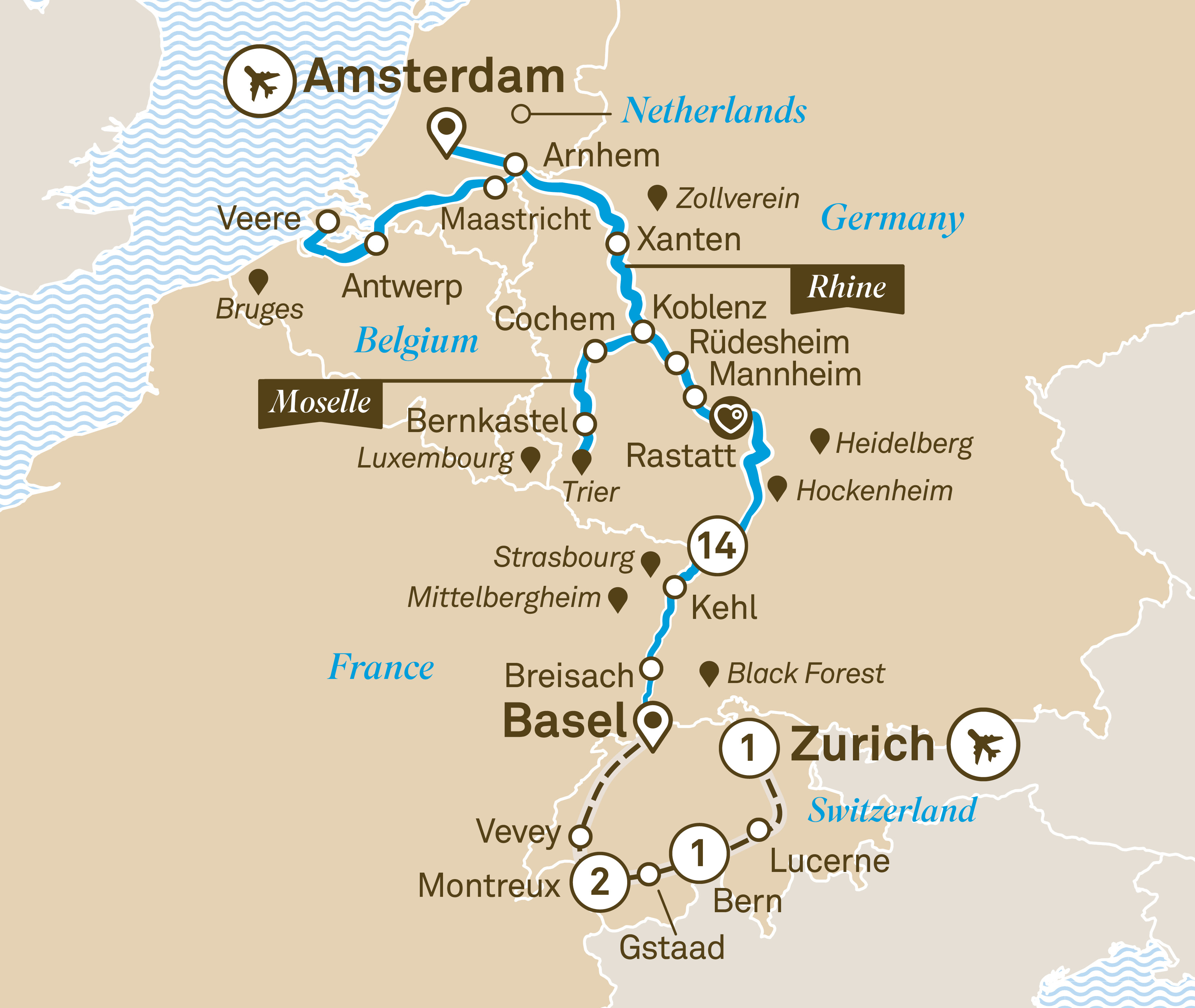 Itinerary map of Romantic Rhine & Moselle with Switzerland