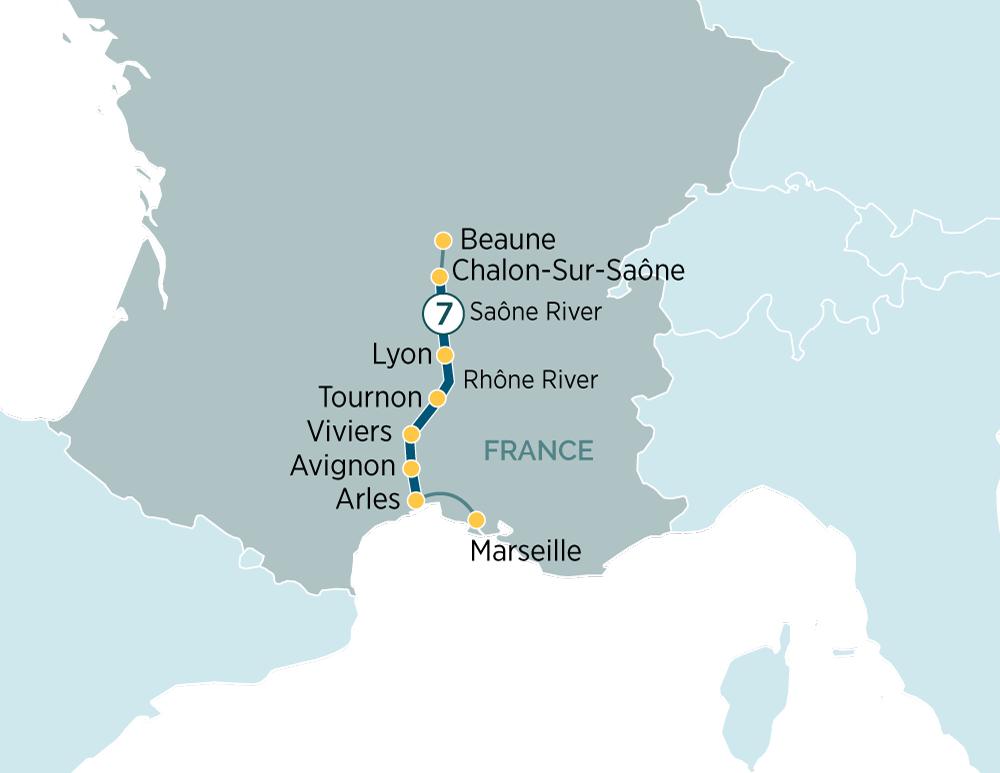 Itinerary map of Sensations of Lyon & Provence