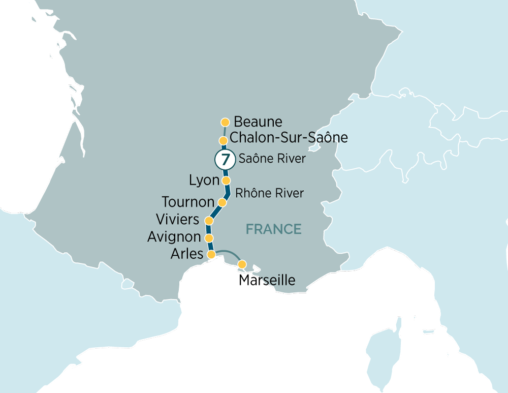 Map for Sensations of Lyon & Provence
