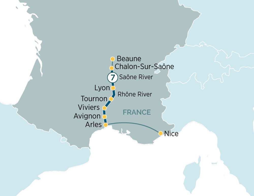 Itinerary map of Sensations of Lyon and Provence