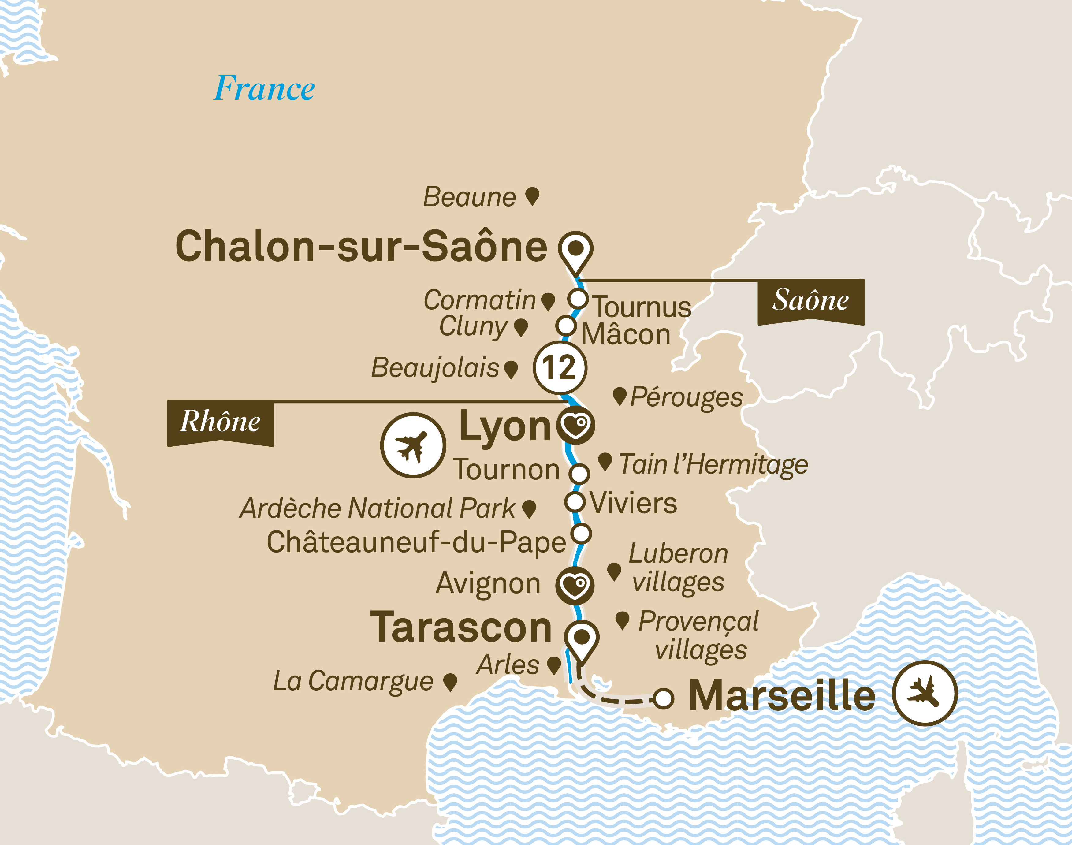 Itinerary map of South of France