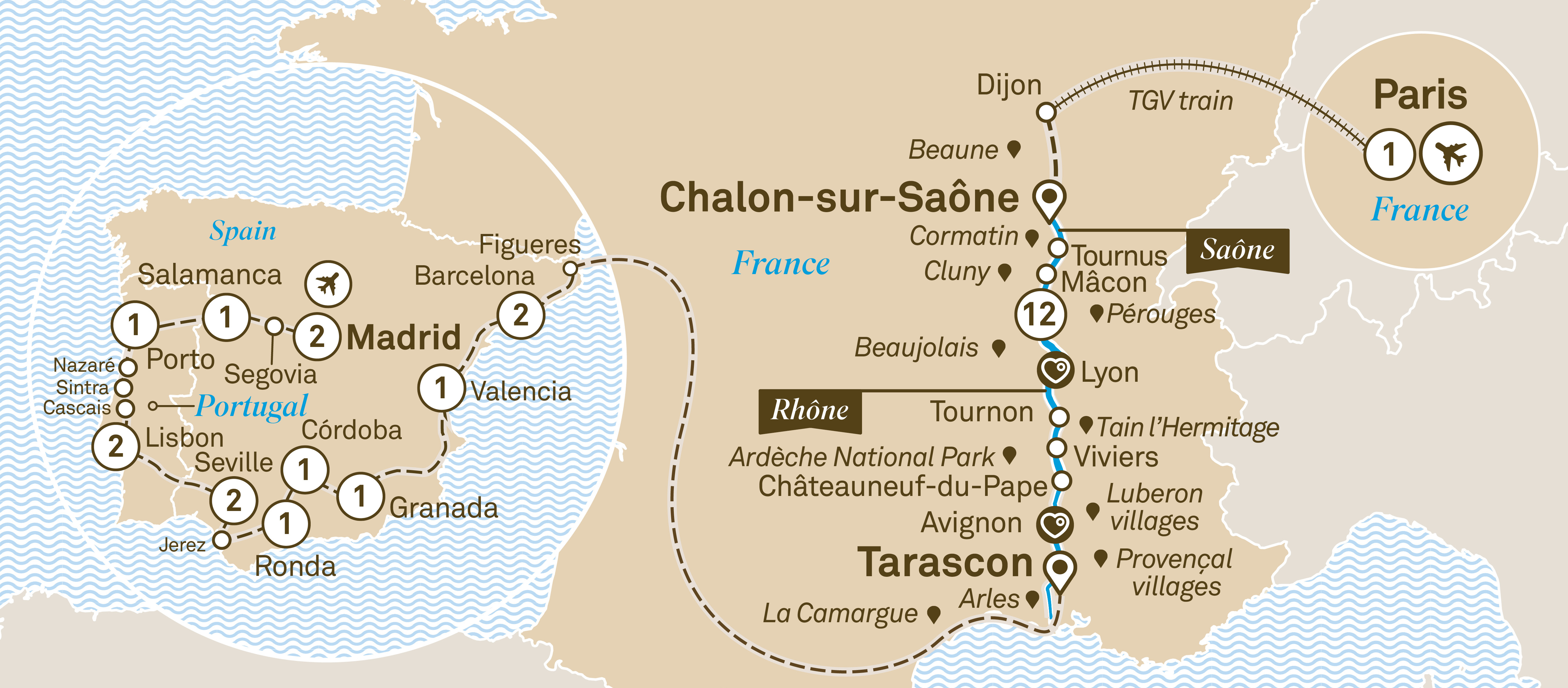 Macon France Map.Spectacular South Of France With Iberian Splendours Scenic Cruises