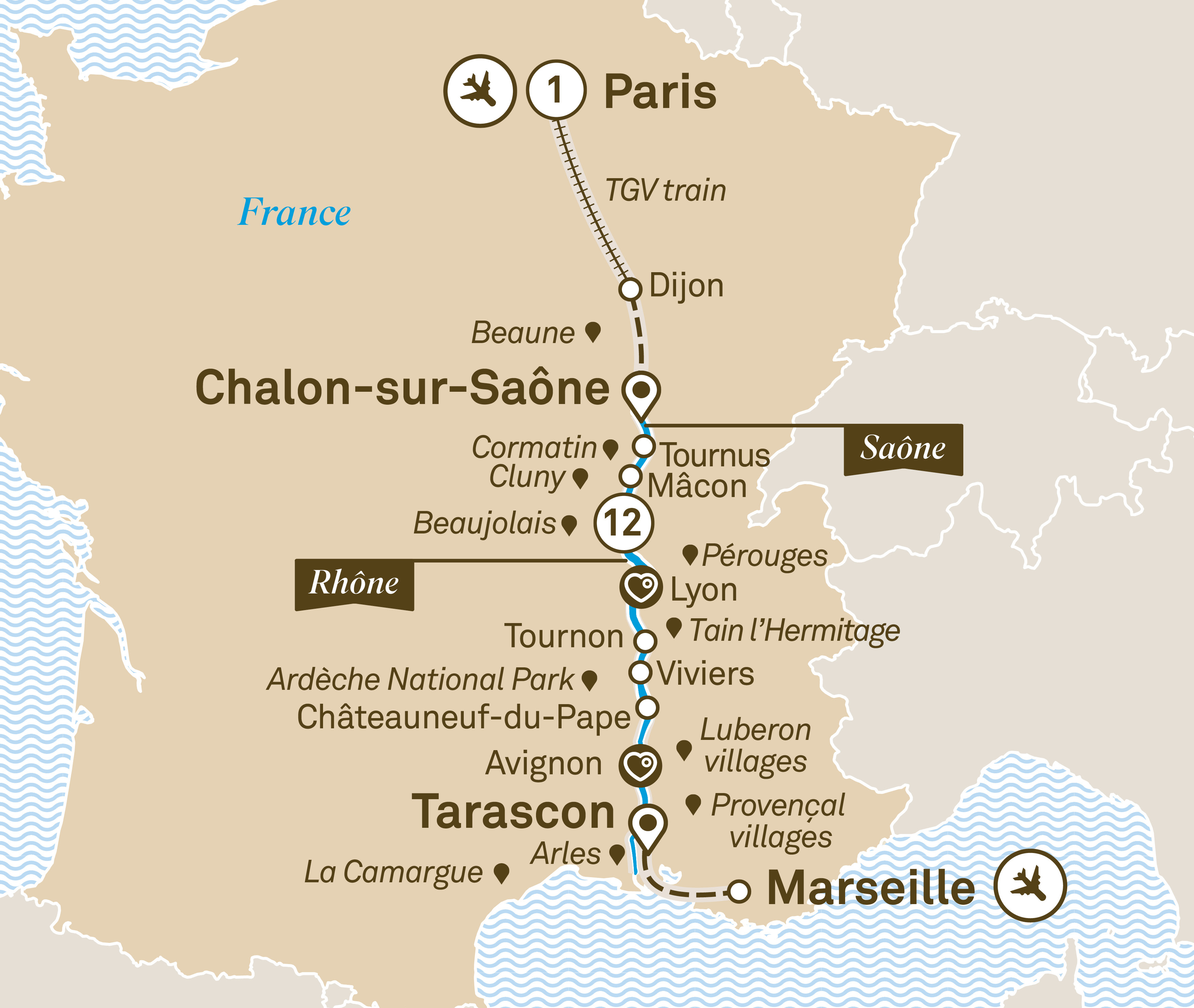 Itinerary map of Spectacular South of France