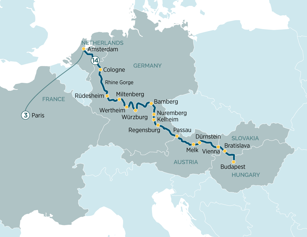 Itinerary map of Splendours of Europe & Paris Escape