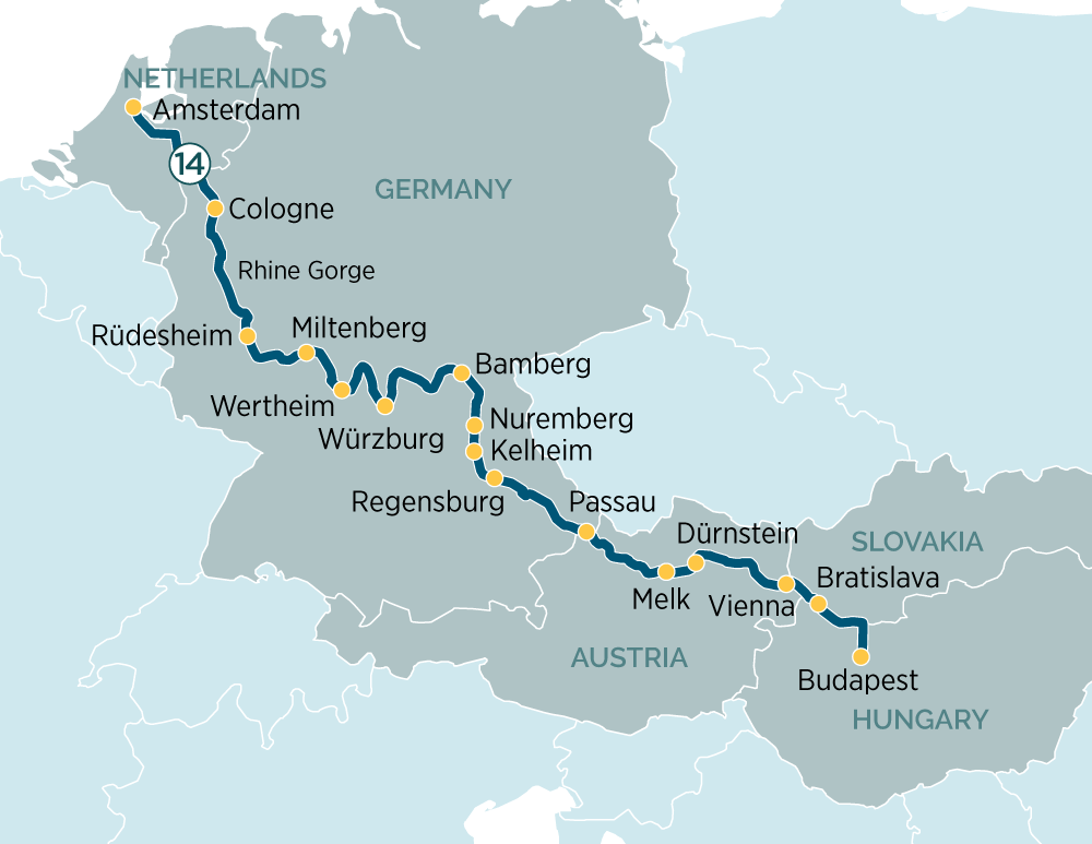 Itinerary map of Splendours of Europe