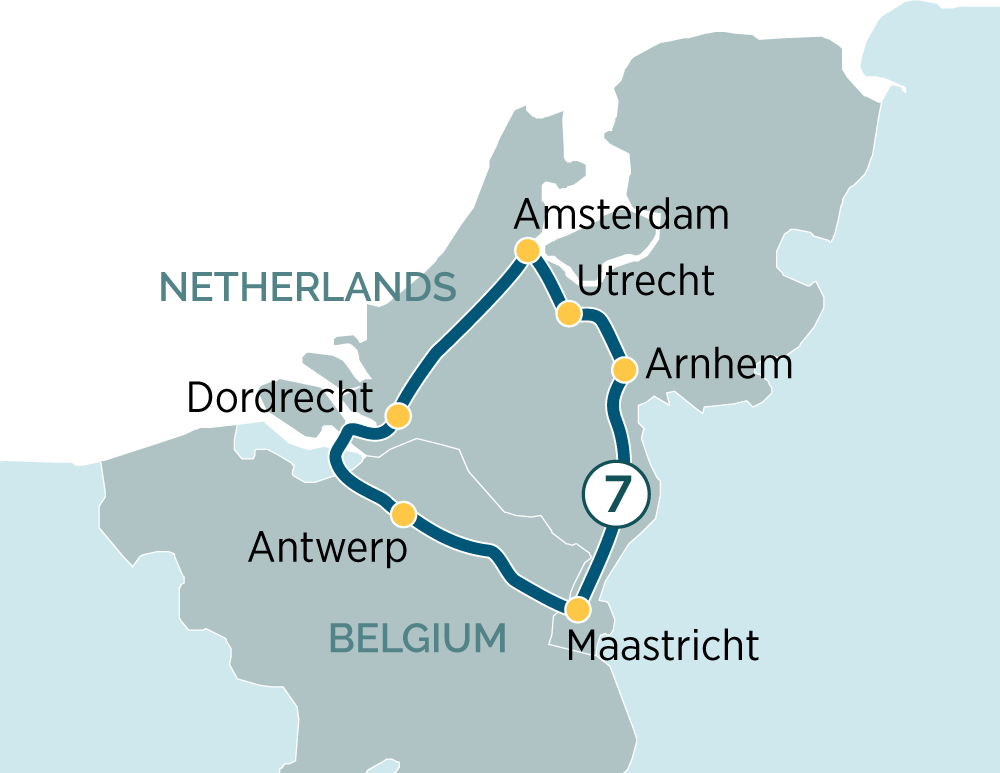 Itinerary map of The Charms of Holland & Belgium