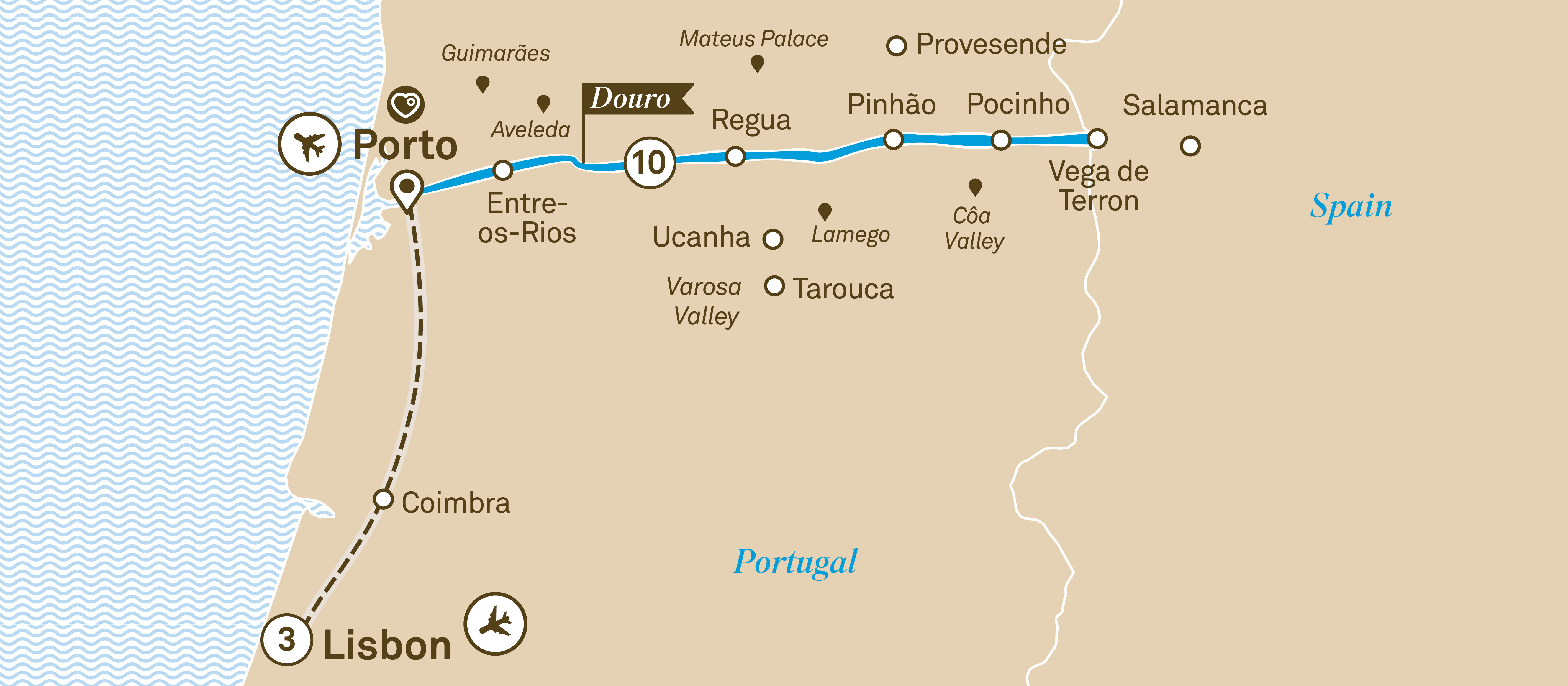 Itinerary map of Unforgettable Douro with Lisbon