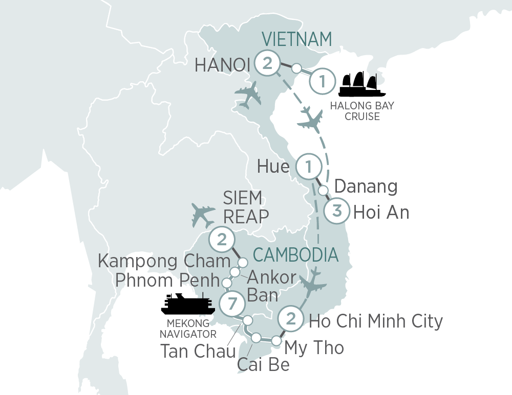 Itinerary map of Vietnam & Cambodia Explorer and Mekong Cruise