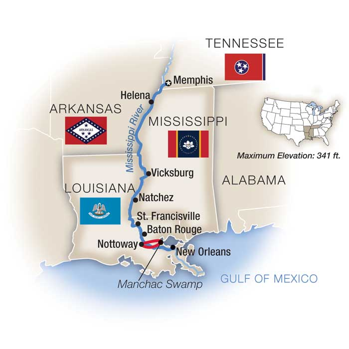 Map for Life on the Mississippi - Southbound