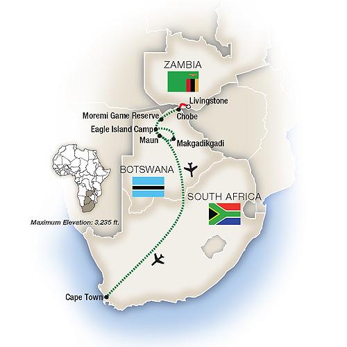 Map for Botswana, South Africa & Zambia