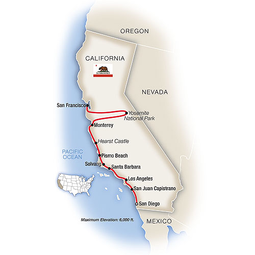 Itinerary map of California