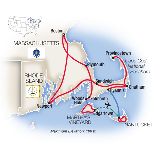 Itinerary map of Cape Cod, The Islands and Newport