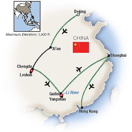 Itinerary map of Odyssey in China: Beijing, Chengdu & Hong Kong