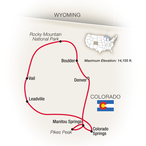 Itinerary map of Colorado: Denver, Boulder & the Rockies